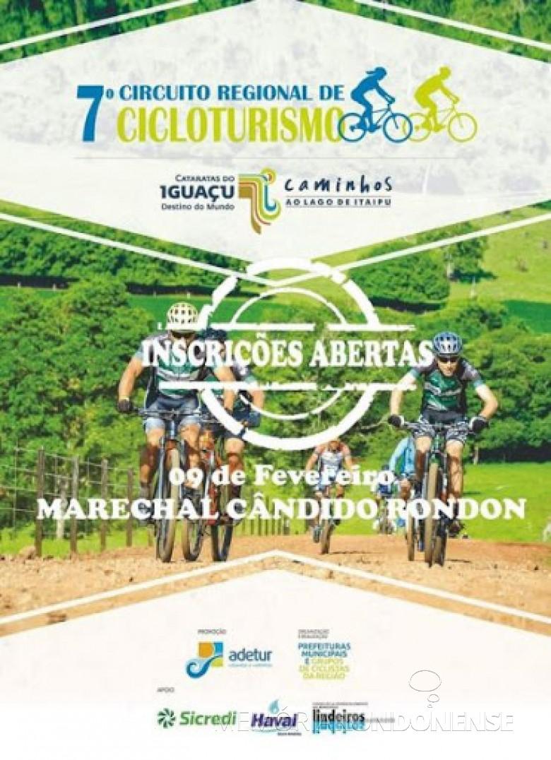 Cartaz-convite para a etapa de Marechal Cândido Rondon do Cicloturismo Regional 2019. Imagem: Acervo Adetur - FOTO 8 -