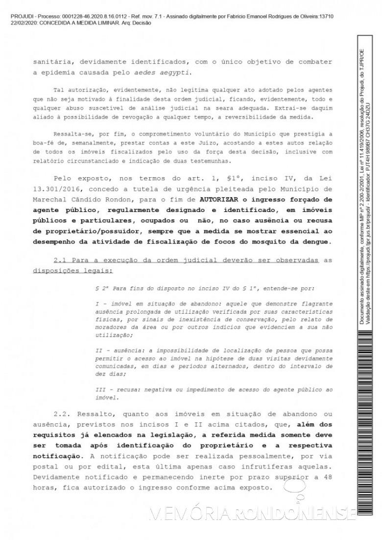 Página 3 da liminar concedida pelo juiz de direito substituto Fabrício Emanoel Rodrigues de Oliveira em favor do município de Marechal Cândido Rondon, em fevereiro de 2020. Imagem: Acervo Projeto Memória Rondonense - FOTO 11 -
