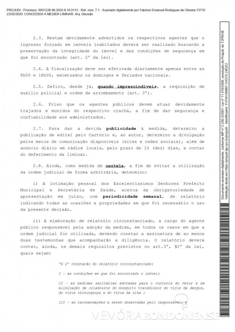Página 4 da liminar concedida pelo juiz de direito substituto Fabrício Emanoel Rodrigues de Oliveira em favor do município de Marechal Cândido Rondon, em fevereiro de 2020. Imagem: Acervo Projeto Memória Rondonense - FOTO 12 -