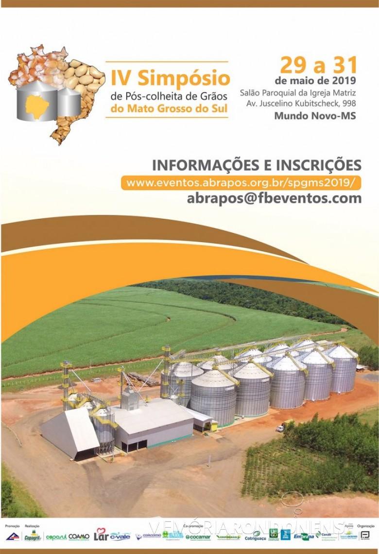 Cartaz do Simpósio de Pós-Colheita de Grãos do Mato Grosso do Sul, sediado em Mundo Novo. Imagem: Acervo Comunicação Copagril - FOTO 6 -