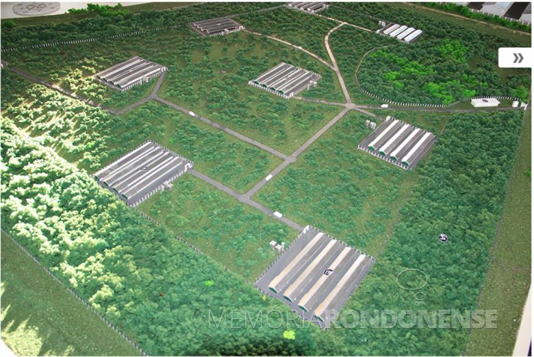 Perspectiva do projeto do Núcleo de Recria de Matrizes e Produção de Ovos Férteis da Copagril.  Imagem: Acervo Cooperativa Agroindustrial Copagril - FOTO 3 -