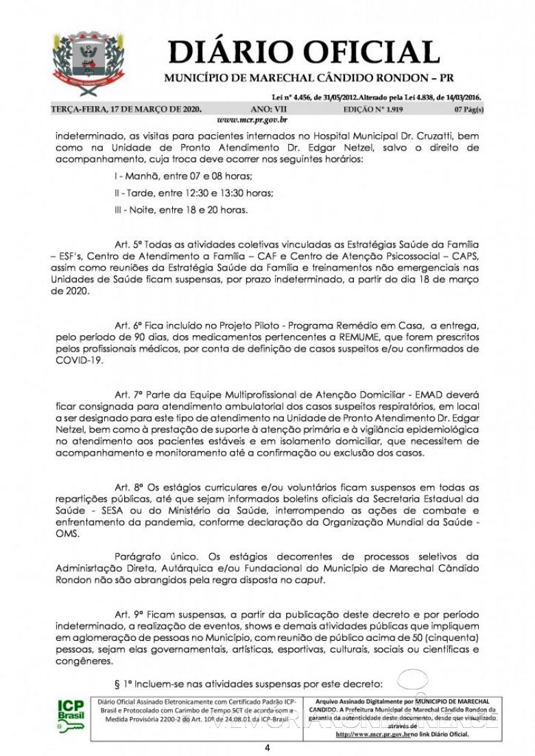 Página 3 do Decreto nº 071/2020, assinado pelo Poder Executivo de Marechal Cândido Rondon. Imagem: Acervo Diário Eletrônico do Município - FOTO 12 -