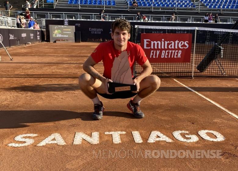 Tenista Thiago Seyboth Wild campeão do ATP de Santiago 2020, do Chile.  Imagem: Acervo Globo Esporte (divulgação) - FOTO 16 -