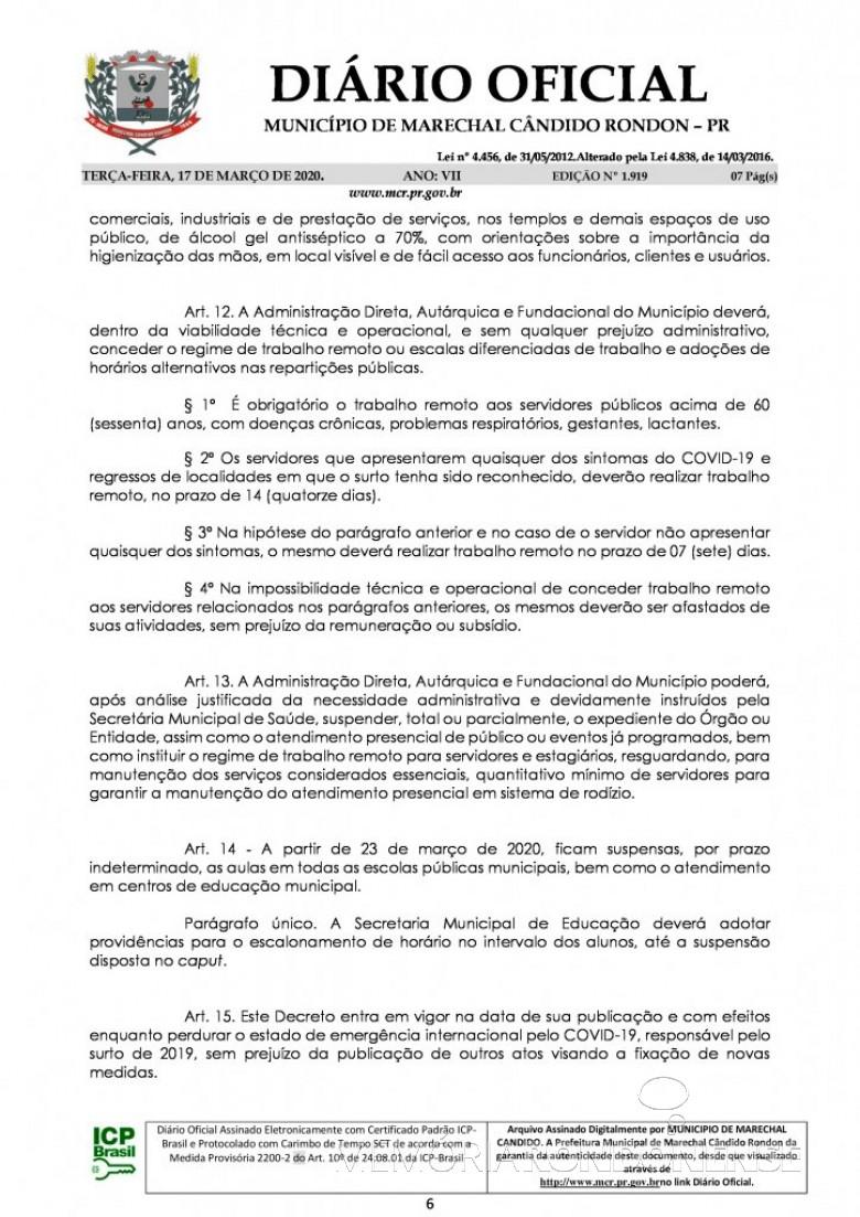 Página  5 do Decreto nº 071/2020, assinado pelo Poder Executivo de Marechal Cândido Rondon. Imagem: Acervo Diário Eletrônico do Município - FOTO 14 -