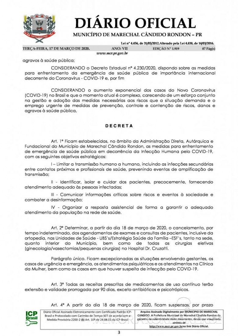 Página 2 do Decreto nº 071/2020, assinado pelo Poder Executivo de Marechal Cândido Rondon. Imagem: Acervo Diário Eletrônico do Município - FOTO 11 -
