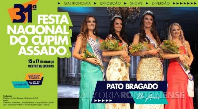 Convite para as comemorações do 26º aniversário do município de Pato Bragado. Imagem: Acervo Projeto Memória Rondonense - FOTO 8 -