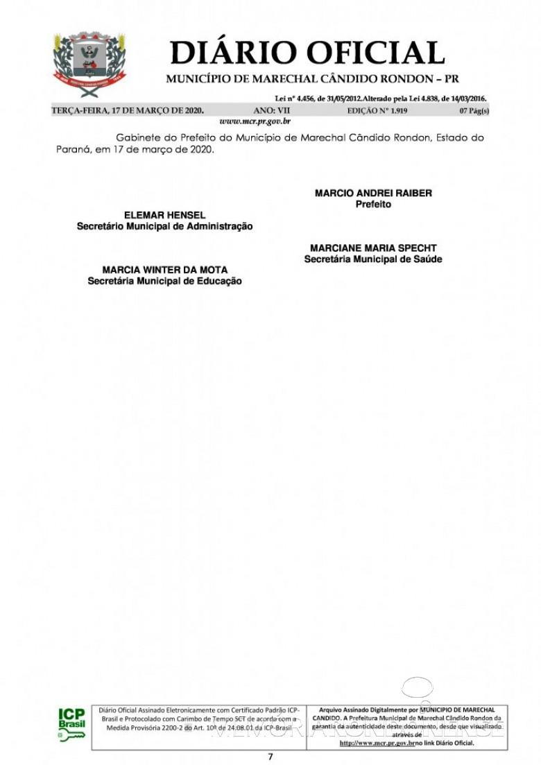 Página final do Decreto nº 071/2020, assinado pelo Poder Executivo de Marechal Cândido Rondon. Imagem: Acervo Diário Eletrônico do Município - FOTO 15 -