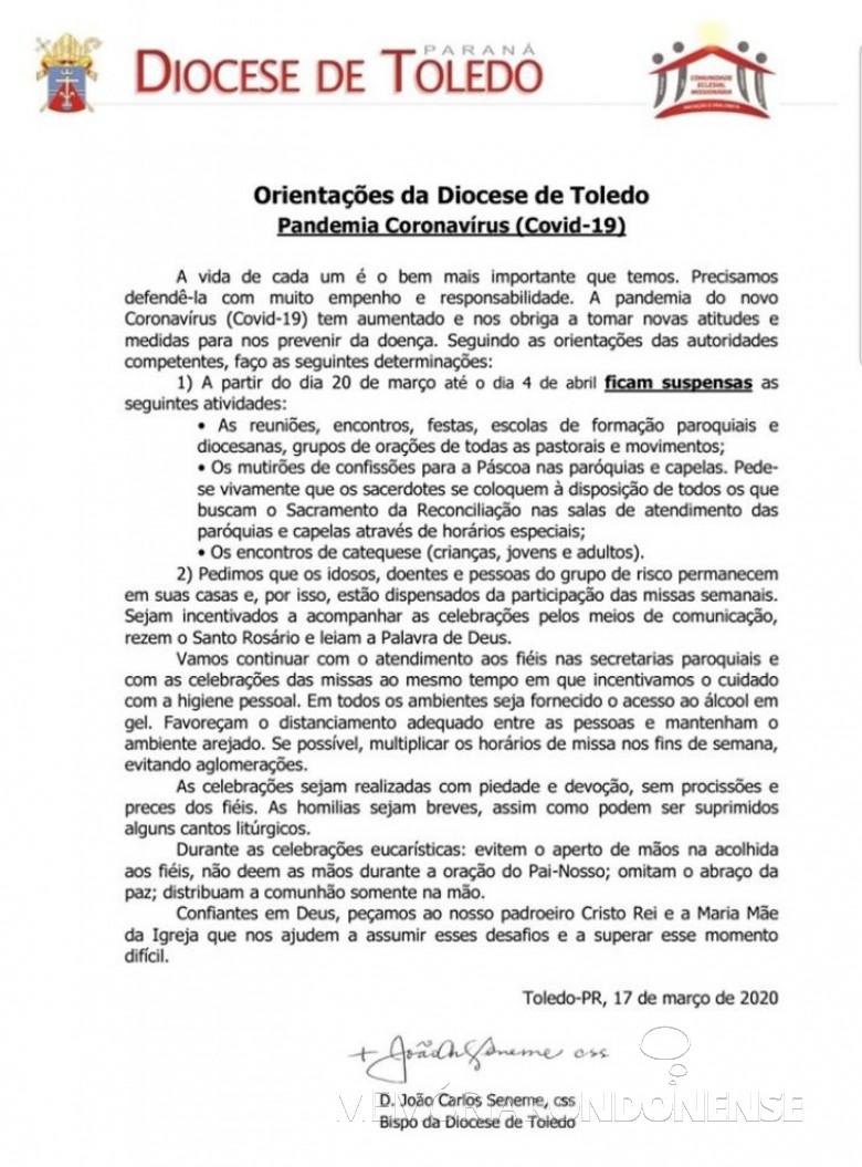 Nota da Diocese de Toledo referente à pandemia de Covid-19. Imagem:  Acervo Projeto Memória Rondonense - FOTO 17 -