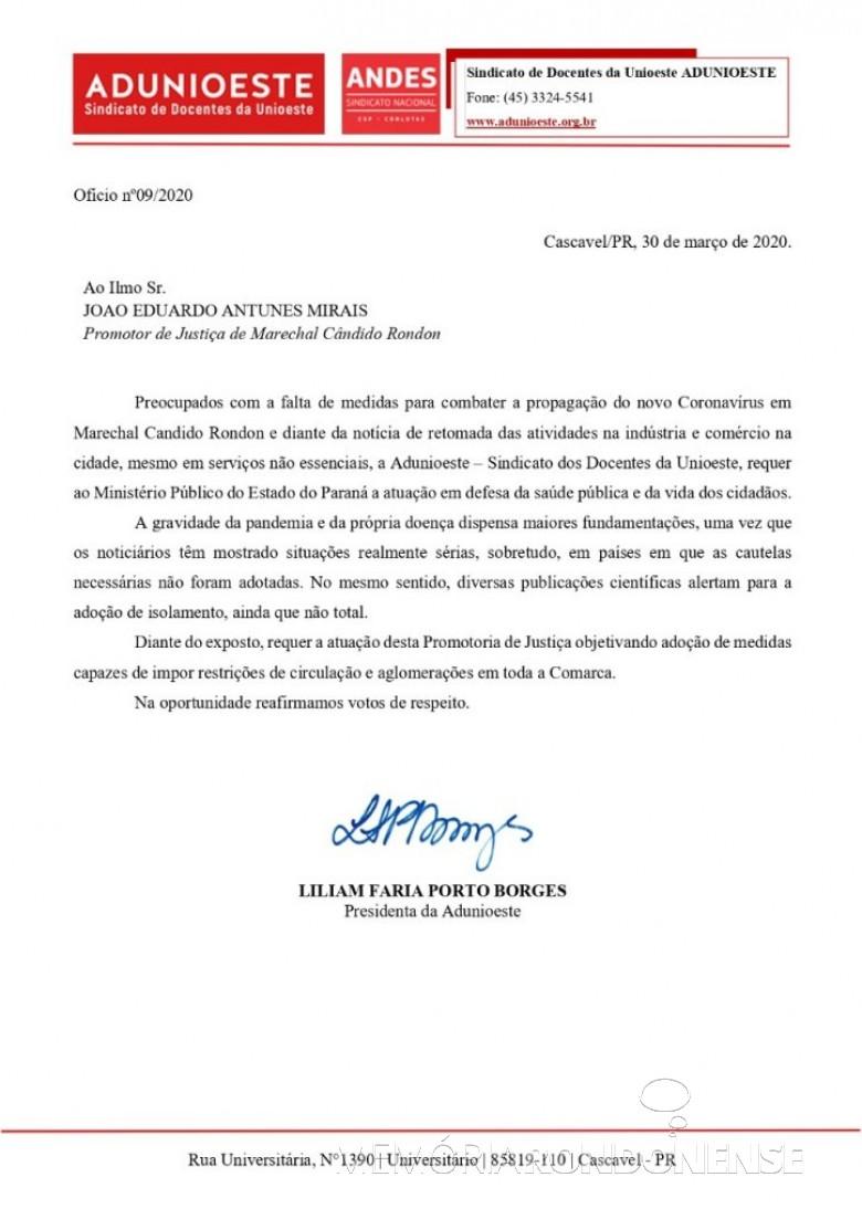 Requerimento da Adunioeste a Promotoria Pública da comarca de Marechal Cândido Rondon.  Imagem: Acervo Rádio Difusora do Paraná - FOTO 7 -