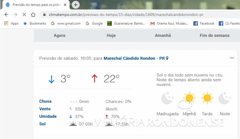 Previsão de temperatura mínima média da empresa Climatempo para a cidade de Marechal Cândido Rondon. Imagem: Acervo Climatempo - FOTO 9 -