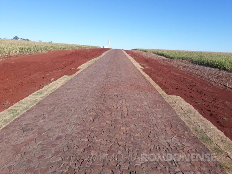 Mostra da leivas de gramas furtadas às margens da estrada municipal para a Linha Guará. Imagem: Acervo Imprensa PM-MCR - FOTO 11 --
