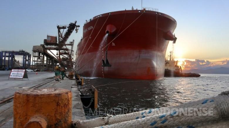 Graneleiro Pacific South ancorado no Porto de Paranaguá. Imagem: Acervo Porto do Paraná - Crédito: Cláudio Neves - FOTO 11 -