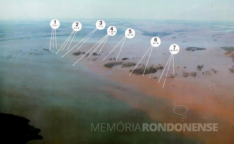 Vista aérea mostrando  o desaparecimento das Sete Quedas e a localização de cada salto  extinto. Imagem: Acervo Marcelo Miguel - FOTO 5 -
