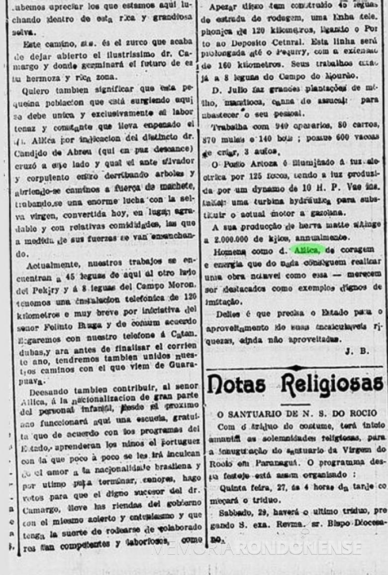 Nota do jornal A República  sobre a visita de Affonso Camargo  a Porto Artaza. Imagem: Acervo Bblioteca Nacional  - Pesquisa: Luiz Eduardo Deon (Cascavel) - FOTOS 2  e 3 -