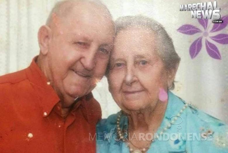 Pioneira Francisca Vilma Wolfart com o o esposo Osvino Ernesto Wolfart, ela falecida em junho de 2020. Imagem: Acervo Daniel Wolfart - FOTO 10 -
