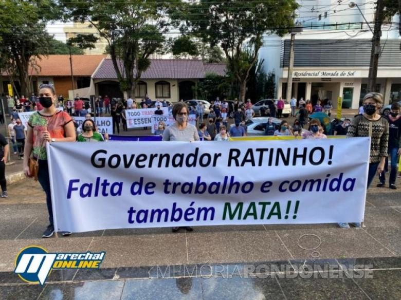Outro instantâneo da manifestação em Marechal Cândido Rondon contra o decreto nº 4.942/20. Imagem: Acervo Marechal Online - FOTO 16 -
