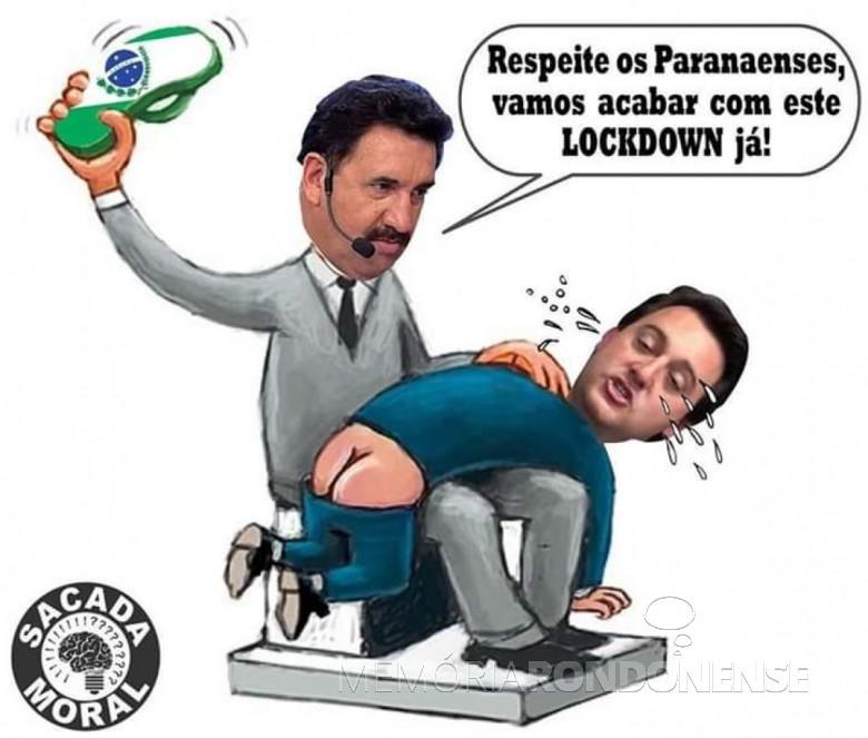 Sátira criada contra o decreto nº 4.942/20, o governador Ratinho Júnior levando chinelada de seu pai. Imagem: Postada nao Facebook - FOTO 21 -