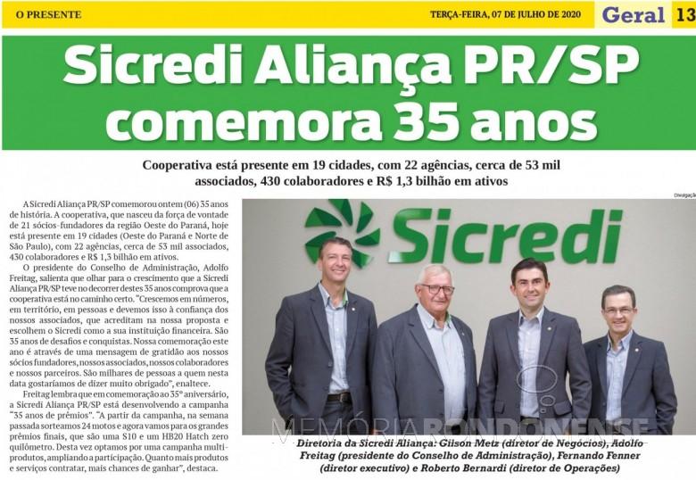 Recorte do jornal O Presente referente aos 35 anos de fundação da Sicredi Aliança PR/SP. Imagem: Acervo O Presente - FOTO 14 -