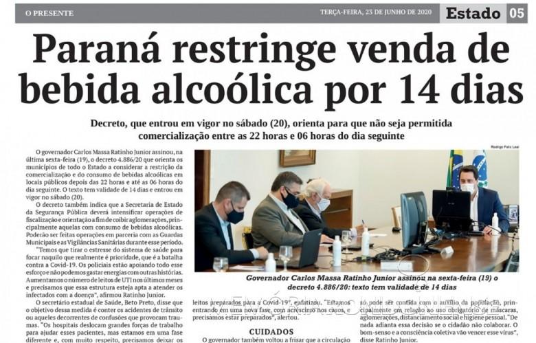 Recorte do jornal O Presente se reportando ao decreto governamentel que restringiu a venda da bebida alcoólica no Estado do Paraná.  Imagem: Acervo O Presente - FOTO 16 -