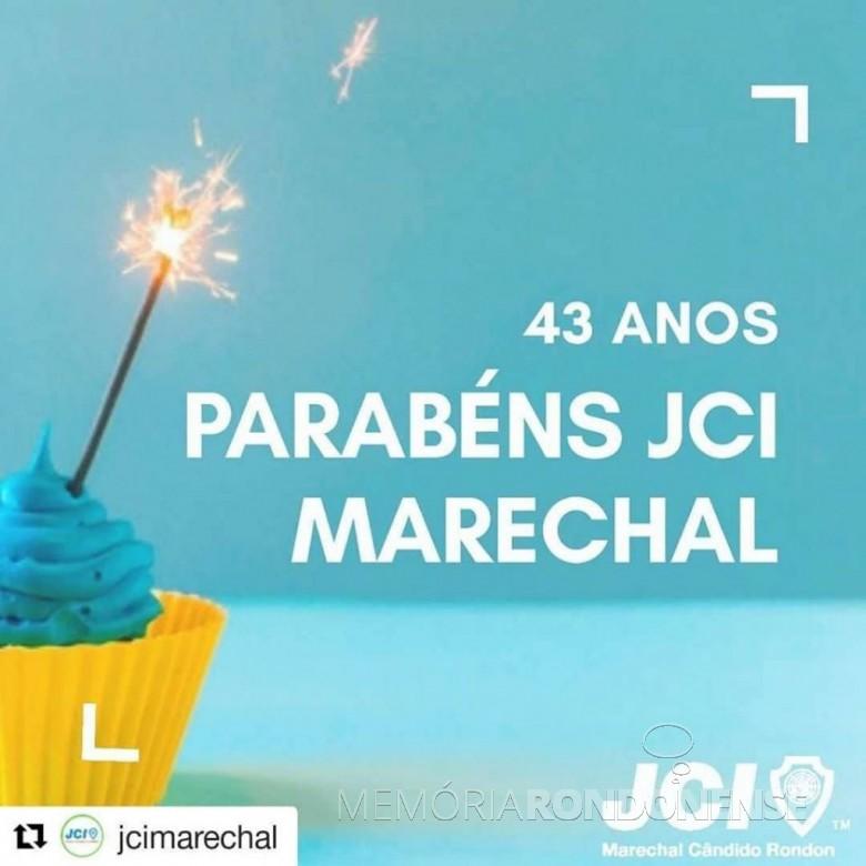 Banner alusivo aos 43 anos de fundação da JCI-Marechal Cândido Rondon.  Imagem: Acervo Juliani DElla Giustina - FOTO 19 -