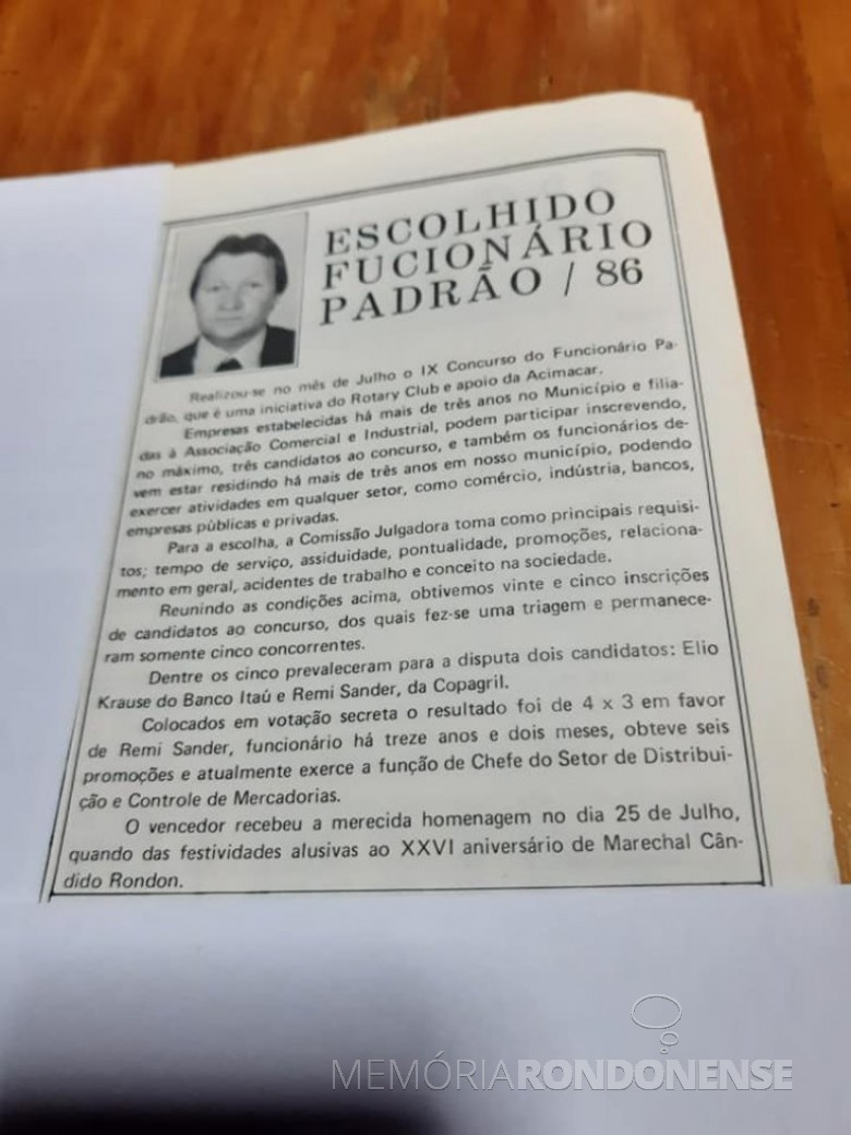 Destaque sobre a homenagem a Remi Sander como funcionário padrão 86 de Marechal Cândido Rondon. Imagem: Acervo pessoal - FOTO 19 -
