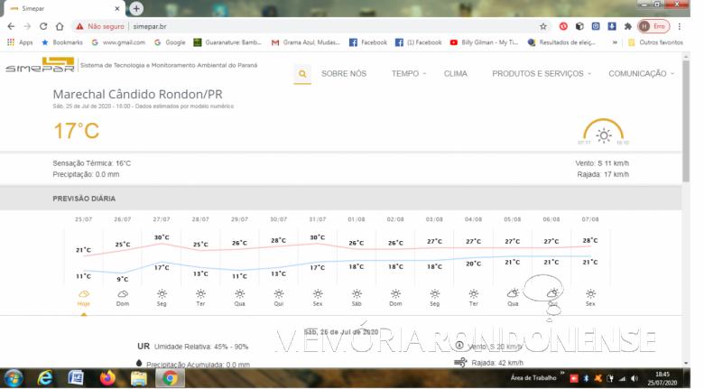 Oscilação térmica em Marechal Cândido Rondon no dia 25 de julho de 2020. Imagem: Acervo Serviço Metereológico do Paraná (SIMEPAR) - FOTO 29 -