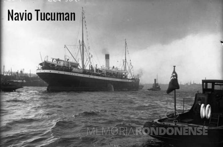 Vapor Tucaman que trouxe a família Stoef para o Brasil.  Imagem: Acervo Urbano Stoef - FOTO 4 -