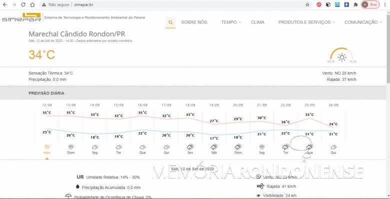 Boletim metereológico do Sistema de Metereologia do Paraná para o dia 12 de setembro de 2020 e dias subquentes. Imagem: Acervo Simepar - FOTO 11 -