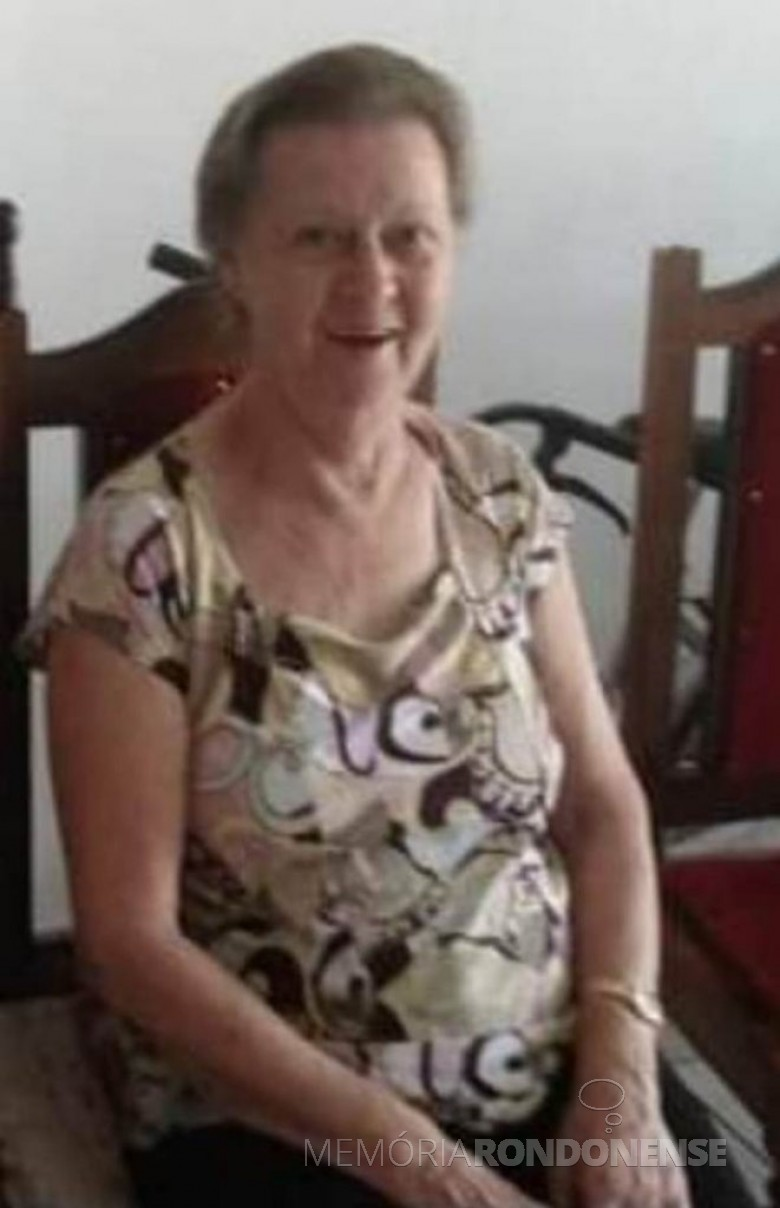 Pioneira Ena Weirich falecida em setembro de 2020. Imagem: Acervo Projeto Memória Rondonense - FOTO 14 -