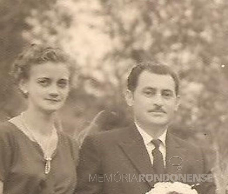 Elfrida Kanske Basso com esposo Guilherme Basso, ela falecida em começo de novembro de 1970.  Imagem: Acervo Walter Basso - FOTO 9 -