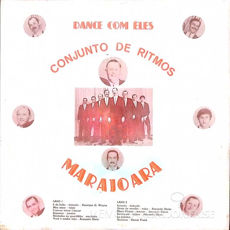 Anverso do LP do Conjunto de Ritmos Marajoara, gravado em 1970. Imagem: Acervo Evandro Wayhs - FOTO 6 -