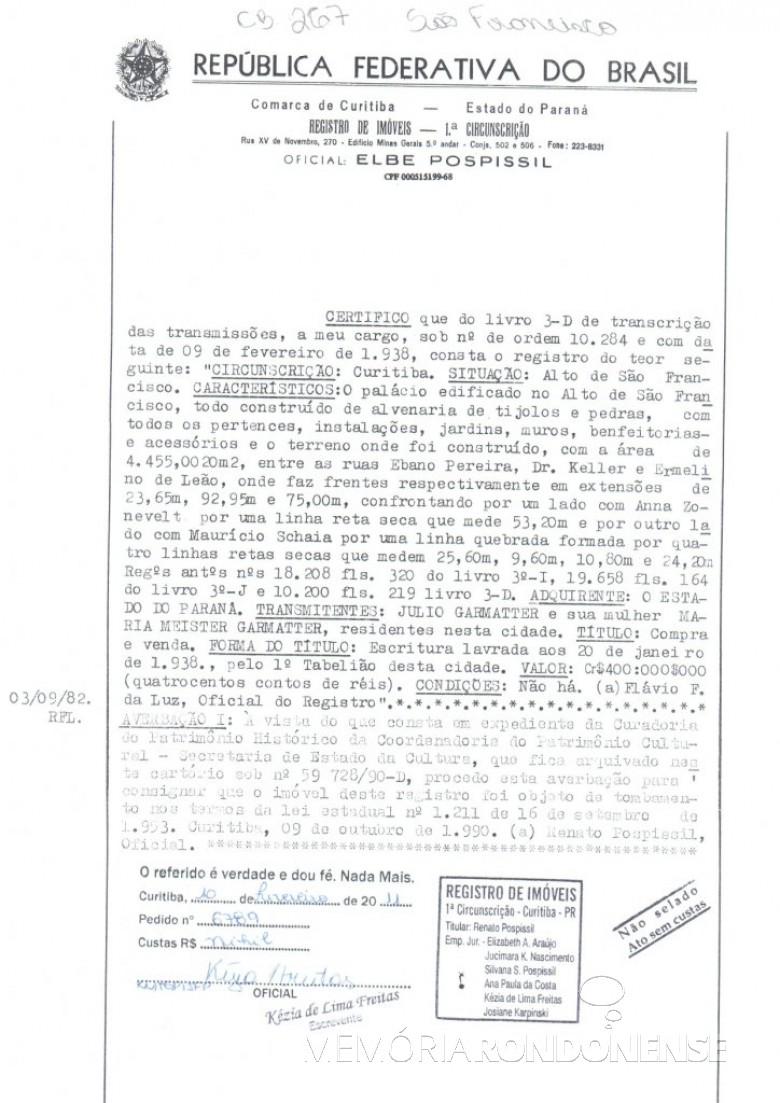 Escritura de compra e venda do Palacete Garmatter, depois nomeado de Palácio São Francisco. Imagem: Acervo SEAP - Patrimônio - FOTO 3 -