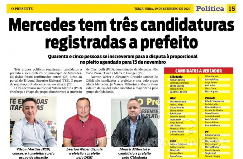 Rol de candidaturas do município de Mercedes para às eleições municipais de 2020. Imagem: Acervo O Presente - FOTO 18 -
