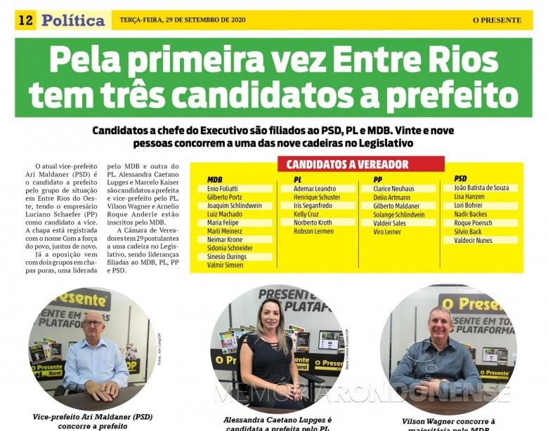 Lista nominativa de candidatos da cidade de Entre Rios do Oeste . Imagem: Acervo O Presente - FOTO 19 -