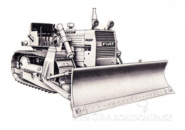 Trator Fiat-Allis adquirido pelo empresário rondonense Waldi Winter, em outubro de 1970. Imagem: Acervo Projeto Memória Rondonense - FOTO 1 -