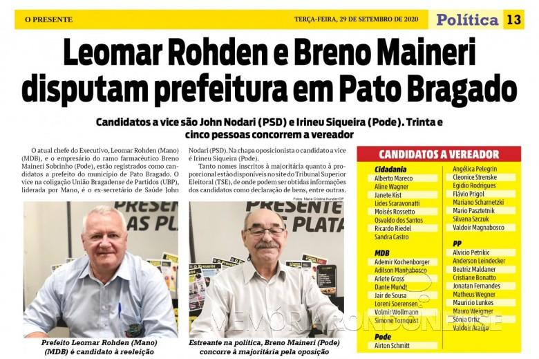Lista de candidatos do município de Pato Bragado. Imagem: Acervo O Presente - FOTO 17 -
