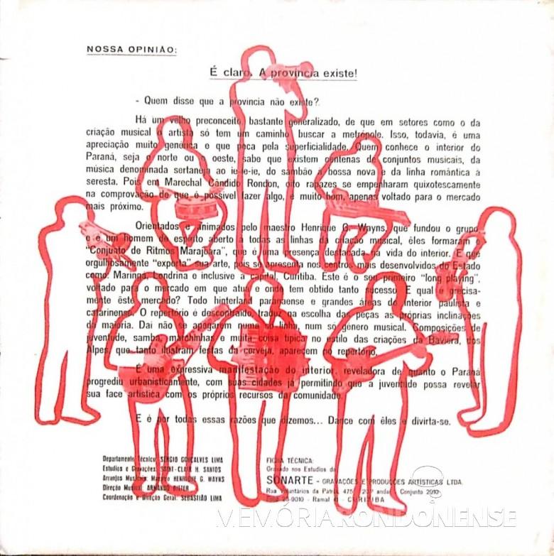 Reverso do vil de 12 músicas do grupo musical rondonense