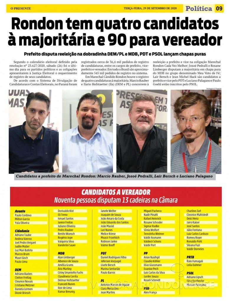Candidaturas a prefeito, vice-prefeito e vereadores no município de Marechal Cândido Rondon. Imagem: Acervo O Presente - FOTO 16 -