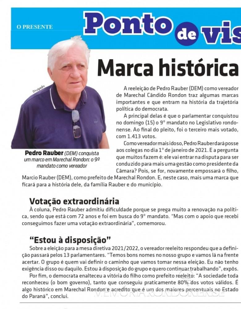 Vereador Pedro Rauber eleito para o 9º mandato na Câmara Municipal de Marechal Cândido Rondon. Imagem: Acervo O Presente - FOTO 29 --