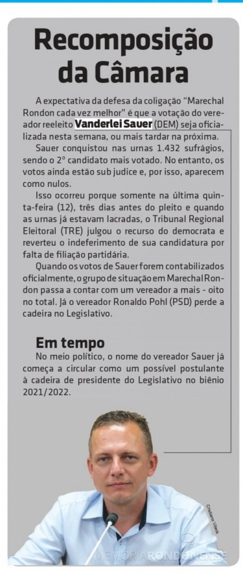 Vereador Vanderlei Sauer (reeleito para o segundo mandato) que ocupou a vaga do vereador Ronaldo Pohl, após o deferimento de suas votos. Imagem: Acervo O Presente - FOTO 32 -