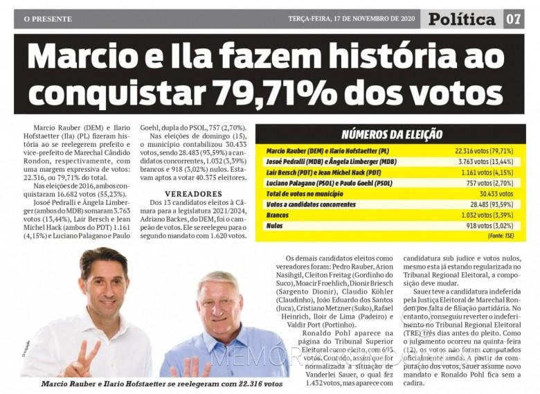 Destaque do jornal rondonense o Presente ref. a reeleição de Marcio Andrei Rauber e seu vice, em 2020. Imagem: Acervo O Presente - FOTO 27-