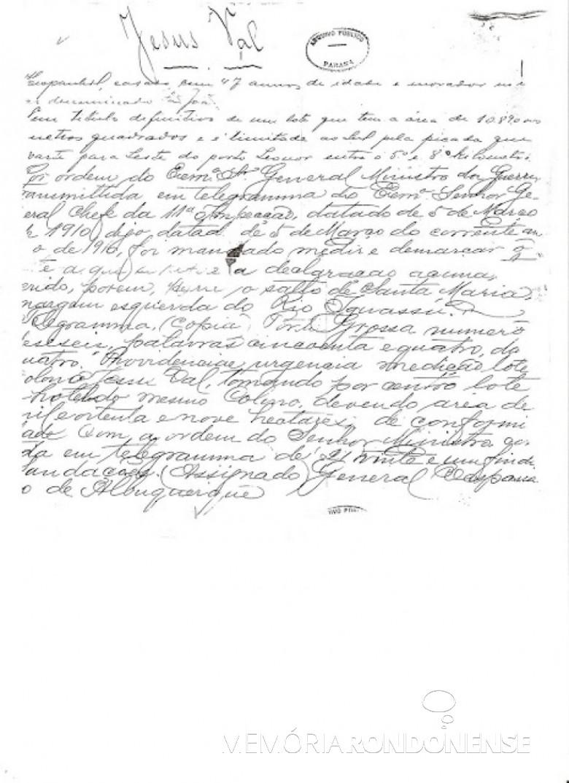 Cópia da matrícula do colono Jesús Val no Livro de Registros dos Colonos da Colônia Militar de Iguassú. Imagem: Acervo Arquivo Público do Paraná/Jackson Lima - FOTO 2 -