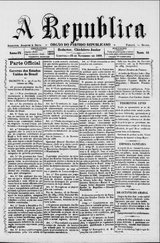 Decreto nº 1 que proclamou a República Brasileira, pubilicado publicado pelo