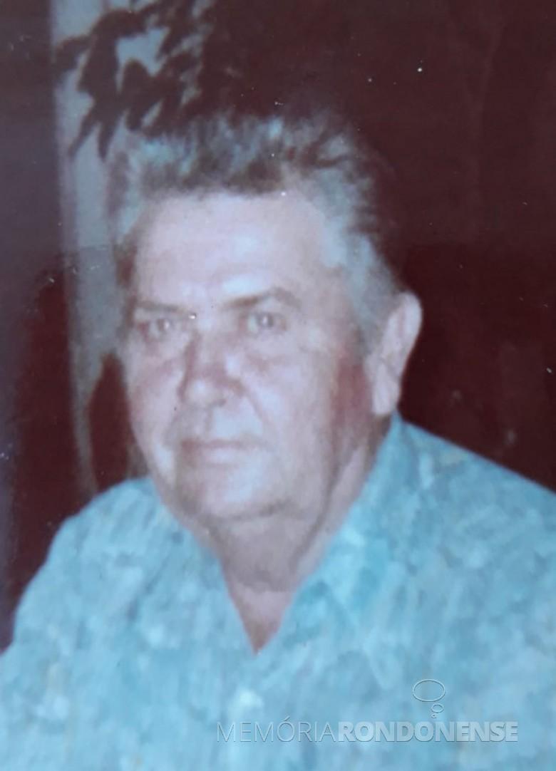Pioneiro rondonense Roberto Pedro Schütz, falecido em janeiro de 1987. Imagem: Acervo Dorly Schütz (Santa Terezinha de Itaipu) - FOTO 1 -