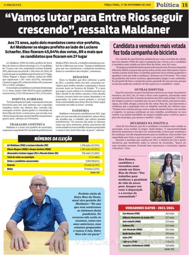 Destaque com Prefeito reeleito do município de Entre Rios do Oeste, paralelo a lista do vereadores eleitos e a candidata mais votada.  Imagem: Acervo O Presente - FOTO 22 -