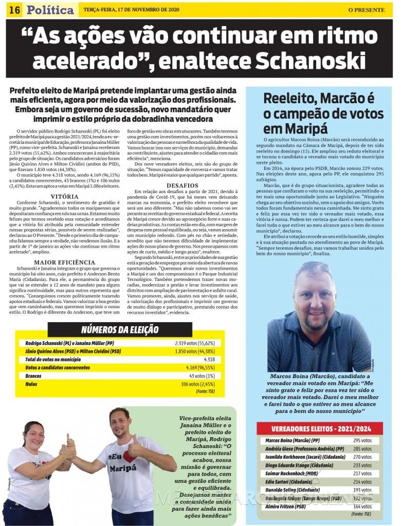 Destaque com Prefeito eleito do município de Maripá, paralelo a lista do vereadores eleitos e o candidato mais votada.  Imagem: Acervo O Presente - FOTO 23 -