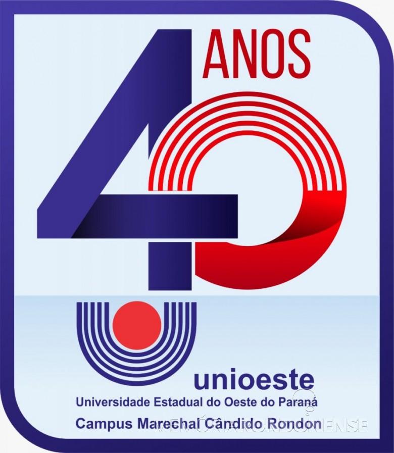 Logomarca alusiva aos 40 anos da Unioeste - campus de Marechal Cândido Rondon. Imagem: Acervo Unioeste - FOTO 12 -