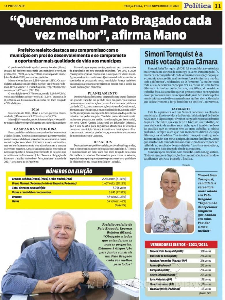 Destaque com Prefeito reeleito do município de Pato Bragado, paralelo a lista do vereadores eleitos e a candidata mais votada.  Imagem: Acervo O Presente - FOTO 20 -