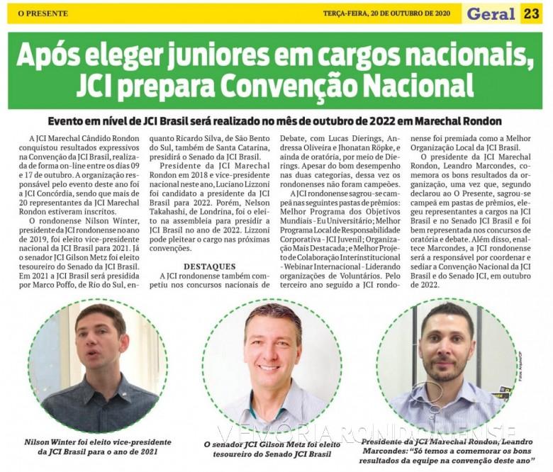 Destaque do jornal rondonense o Presente sobre a participação da JCI Marechal Cândido Rondon na Convenção Nacional 2020. Imagem: Acervo O Presente - FOTO 17 -