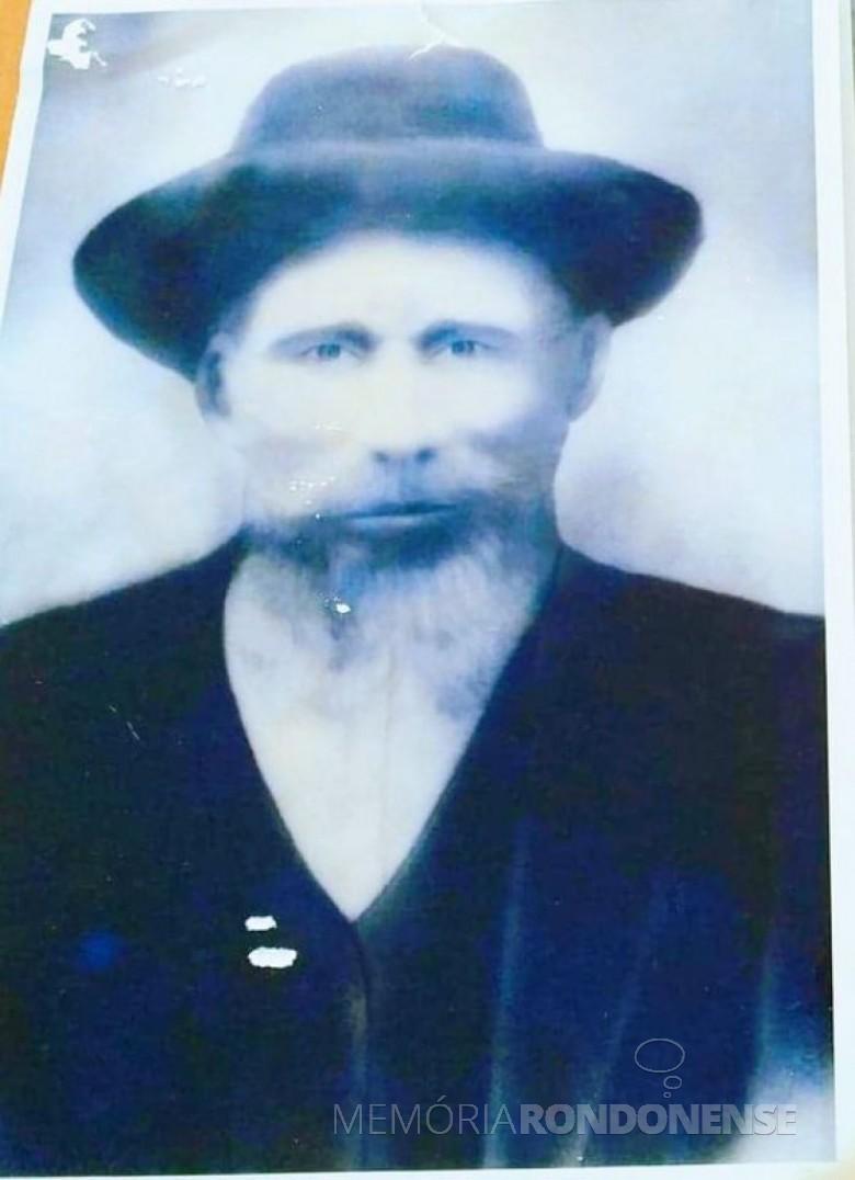 Imigrante alemão Johannes Meier, avô de Alberto Meier, que chegou  em Santa Catarina.  Imagem: Acervo Sérgio Gilberto Meier - FOTO 3 -